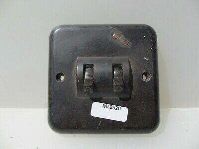 Vintage Bakelite Double Light Switch Square Plate Art Deco Antique Old Crabtree