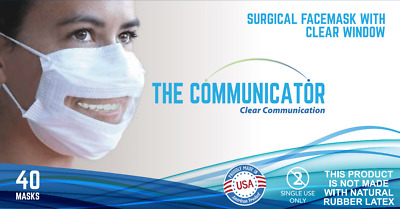 SafeNClear Communicator - FDA Surgical Face Mask Clear Window (Box of 40 masks)