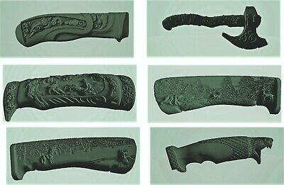 5 knives axe handle 3d model relief for cnc router in STL file format clock