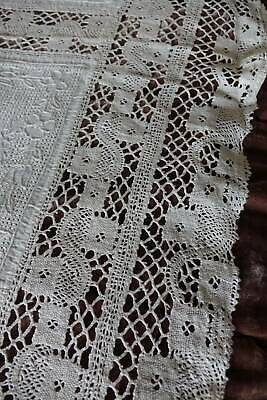 Antique banquet Irish linen tablecloth - hand embroidery & torchon lace insert