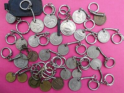 Key Ring Bundle.  25 Pierced Coins from Various Countries.