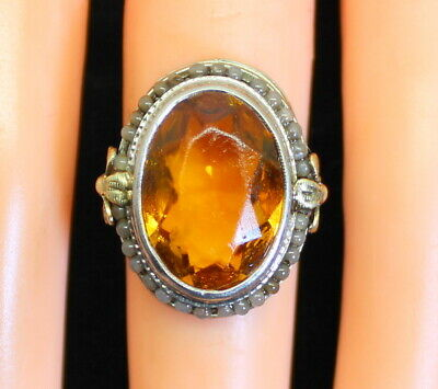 Ornate Antique Estate 10K White Gold LARGE 6 Ct Citrine & Seed Pearl Ring s. 5.5