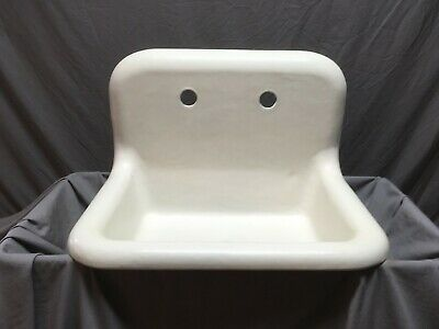 "Antique 24"" Cast Iron White Porcelain High Back Kitchen Farm Sink Vtg Old 72-19E"
