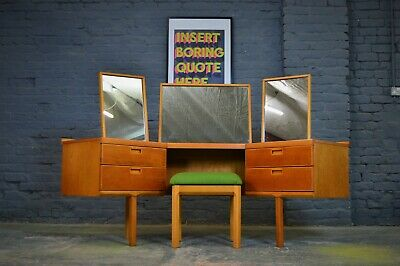 Rare Vintage Mid Century White and Newton Corner Dressing Table with Stool