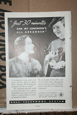 1936 Paper Ad Bell Telephone System Telegraph Just 30 Minutes Luncheon Arranged