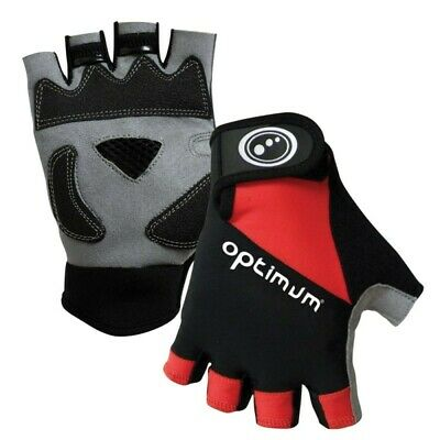 » Optimum Hawkley Half Finger Gloves Black/Red/Grey Large