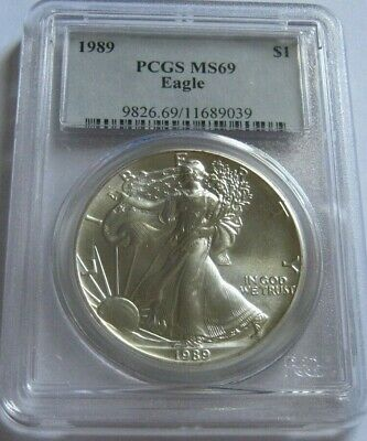 1989 PCGS MS69 AMERICAN SILVER EAGLE ~Classic Blue Label~