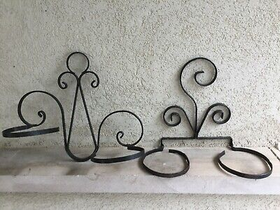 Pair of vintage wrought iron wall mount plant holders