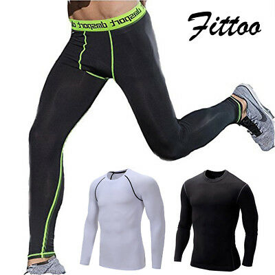 Mens Gym Fitness Leggings Compression Sports Skinny Tight Pants with pockets US