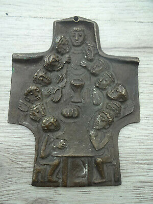 Vintage German bronze crucifix THE LAST SUPPER by Egino Weinert, cross