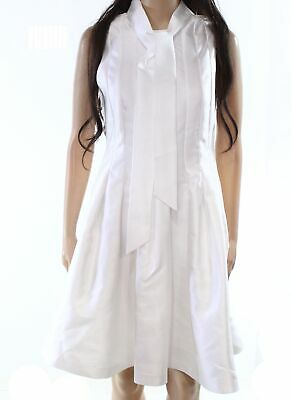 Ted Baker NEW White Womens Size 4 Ted-1 Pleated Tie-Neck Sheath Dress $295 340