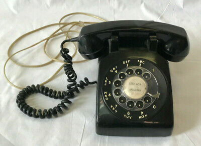 Vintage Telephone Black Rotary Dial Phone Table Top Desk Home Phone 1960s Tested