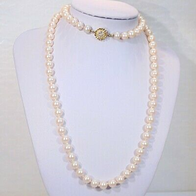 "Vintage good quality glass faux pearls 30"" opera length necklace, rhinestones"