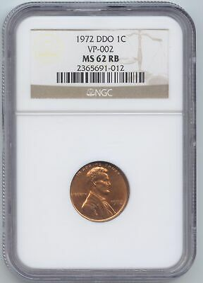 1972 Double Die Lincoln Memorial Cent, VP-002, NGC MS-62 RB, FS-103