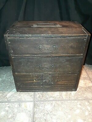Beautiful Antique Wood Toolbox Vintage Drawers Wrought Primitive Trinket Chest