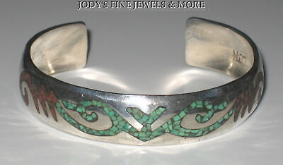 "Exquisite Estate Sterling Silver Inlaid Turquoise & Coral 6.5"" Cuff Bracelet"