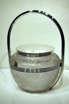 Box for Biscuits Modernist 1920's 1940s Style Engraved Crystal Acid Choisy Orf.