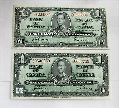 1937 BANK OF CANADA 2 x $1 DOLLAR` BANKNOTE  BC-21d Gordon Towers XF++
