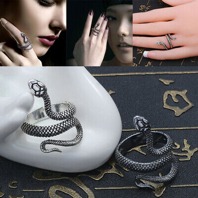 Women Men's Punk Snake Open Adjustable Finger Ring Gothic Fashion Jewelry Gift