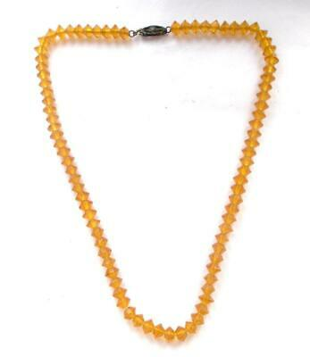 Vintage Art Deco Amber Faceted Glass Crystal Beads Beaded Necklace