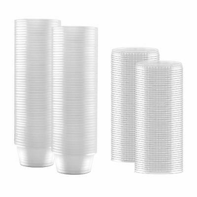 100-Pack of 2-oz Clear Plastic Container with Snap on Leak-Proof Lids .