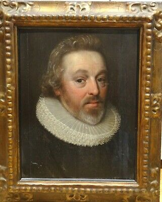 Fine 17th Century Dutch Old Maser Portrait OF A Gentleman Antique Oil Painting