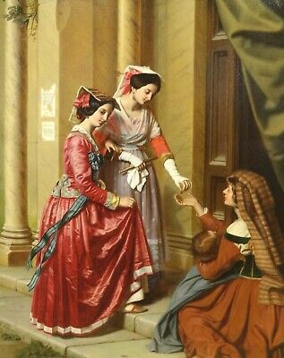Large 19th Century German Ladies Giving Alms Charity Antique Oil Painting TOMER