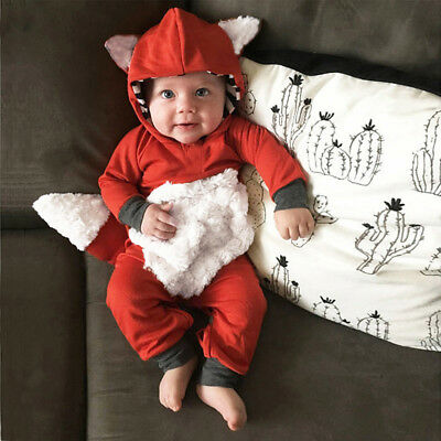 UK Newborn Babys Sleepsuit Cartoon Fox Romper Playsuits Boys Girls Babygrows CC