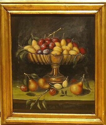 Large 16th Century Style Study Of Fruit On A Mantle Antique Oil Painting