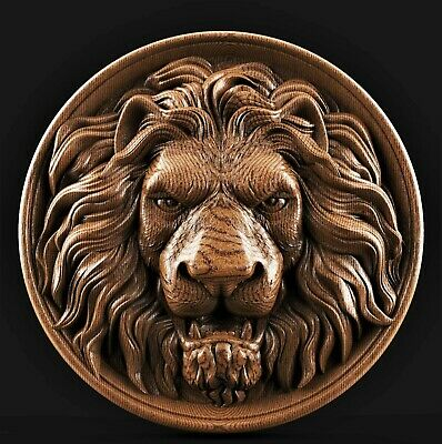 Lion head 3d model relief for cnc router in STL file format