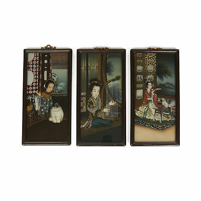 Three Chinese Republic Period Paintings On Glass 20Th C.