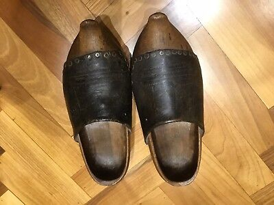 Antique Wooden Clogs 1800s French Hand Made,tooled leather.wood And Nails.Adult.
