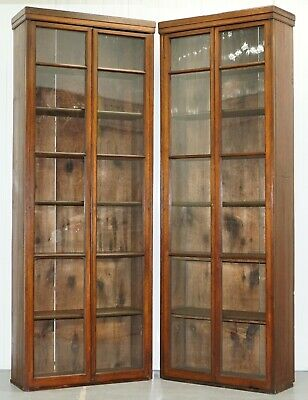 Pair Of Edwardian Walnut Full Length 231Cm Tall Library Exhibition Bookcases