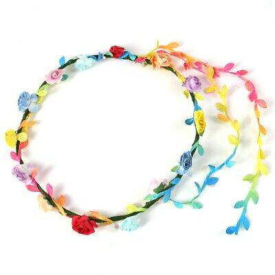 RAINBOW FLOWER GARLAND Head Band Festival Pride Summer Party Rose Leaf Trail