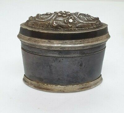 Antique Burmese Silver Oval Lime Box, Mixed Metals Shan States, Late 19Th C