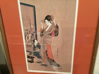 antique Japanese Meiji period watercolor painting signed sealed 2 geishas SUPER
