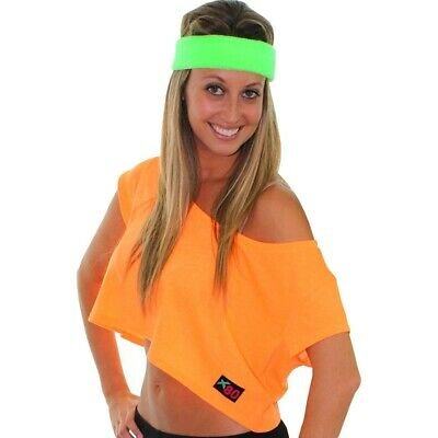 AC58 Neon 1980s Sweatbands Mens Ladies 80s Striped Band Workout Tennis Gym Yoga