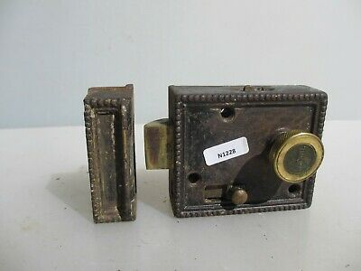 Antique Iron Door Lock Brass Bolt Handle Knob Old Bathroom WC Bolt Vintage Keep