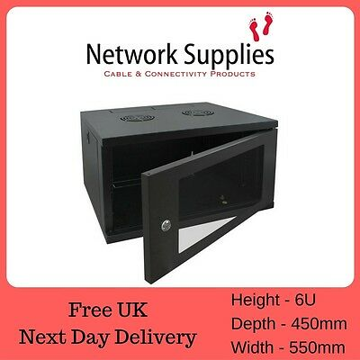 "6U 450mm Deep 19"" Wall Cabinet Data Rack Patch Panels PDU Comms Network"