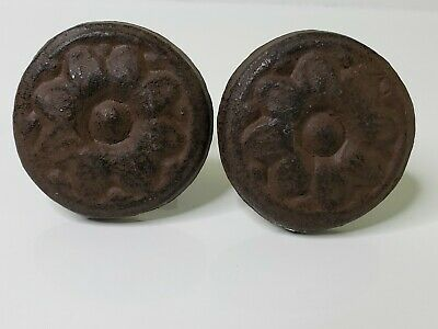 Pair Of Antique Victorian Cast Iron  Door Knobs 2""
