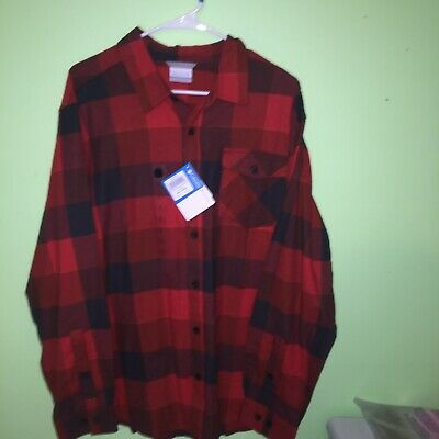 Columbia Men's Red/Orange Flannel Button-Up Shirt Size Large Brand New With Tags