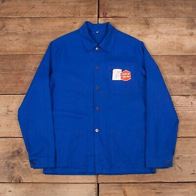 "Mens Vintage Deadstock NOS Blue Sanforized French Worker Jacket Large 42"" R13038"