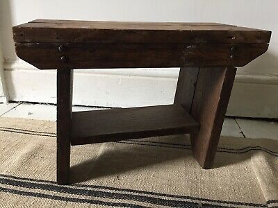 Folk Antique Hand Made Wooden Rustic Milk Stool Table Farm House