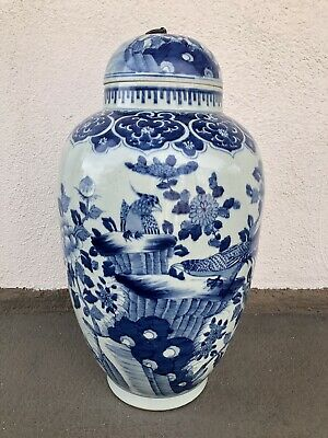 "HUGE 20"" Antique Japanese Arita Blue White Porcelain Lidded Jar Birds Art Meiji"