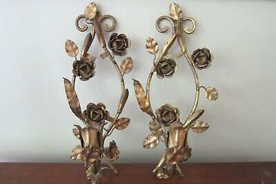 Pair of Vintage Italian Gold Gilt Tole Leaves Flower Candle Wall Sconces 14""