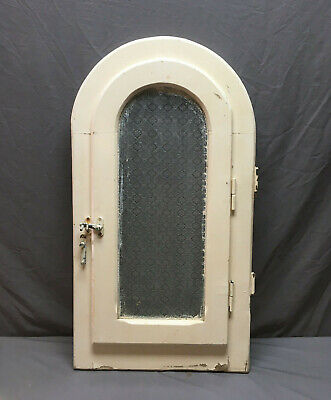 Antique Arch Half Round Window with Screen Shabby VTG Chic Floral Glass 329-19L