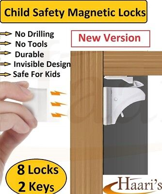 8 Invisible Magnetic Baby Child Pet Proof Cupboard Door Drawer Safety Lock Catch
