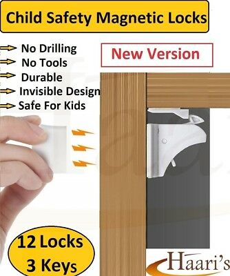 12 Invisible Magnetic Baby Child Pet Proof Cupboard Door Drawer Safety Locks