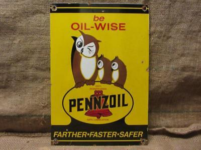 Vintage Porcelain Pennzoil Motor Oil Owl Sign RARE Antique Service Station 9837