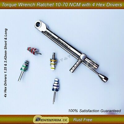 Dental Implant Torque Wrench Ratchet 10-70 ncm Fixed Head 4.0 Square&Hex Drivers